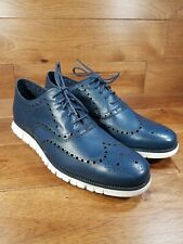 Cole Haan Men's ZEROGRAND Midnight Blue Leather Wingtip Oxford Wide Size 15 W