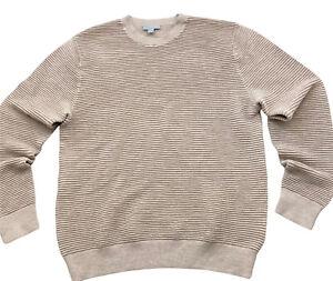 Cos Mens Jumper Beige M 100% Wool Ribbed Crew Neck Sweater Fine Knit Lightweight