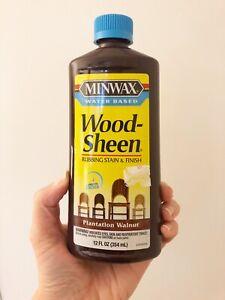 Minwax Wood Sheen Rubbing Stain & Finish Plantation Walnut Water Based 12oz Disc