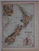 1910 ORIGINAL MAP NEW ZEALAND NORTH & SOUTH ISLAND WELLINGTON AUCKLAND
