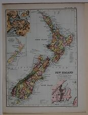 1910 ORIGINAL MAP NEW ZEALAND NORTH & SOUTH ISLAND WELLINGTON AUCKLAND