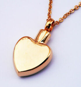 """Cremation Ashes Jewellery Keepsake Necklace Urn """"Gold Heart"""""""