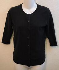 Woman's Merona Size Xs Black Cardigan Sweater 3/4 Sleeves Button Down