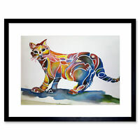 Painting Impression Animal Cat Colourful Framed Art Print Poster 12x16 Inch