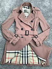 GENUINE BURBERRY LADIES ROSE PINK BEIGE TRENCH COAT CHECK UK 4 KENSINGTON FIT