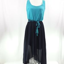 New Hot n Hollywood Women's Dress Medium Teal/Navy Sleeveless Career Asymetrical