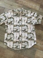 Men's Monte Carlo SHORT SLEEVE SHIRT FISHING SCENE Size Medium 38/40 Cotton