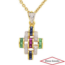Estate Diamond Ruby Emerald Sapphire 18K Gold Fancy Pendant NR