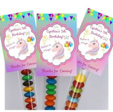 20 x Unicorn Magical Magic Lolly  Tubes Bags Favours Girls Theme Party Rainbow