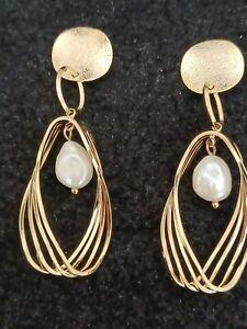 NORDSTROM- New Gold Plate Genuine Pearl Earrings