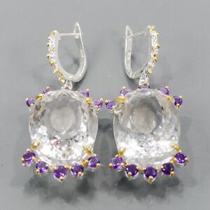 Handmade SET Quartz Earrings Silver 925 Sterling   /E57949