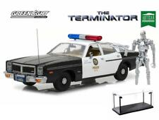 DIECAST CAR & LED CASE TERMINATOR 1977 DODGE MONACO POLICE W/T-800 FIGURE 1/18