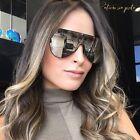Flat Top Designer Oversized Shield Women Sunglasses Mirrored Lens Metal Frame
