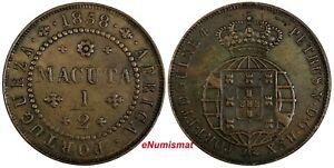 Angola Pedro V Copper 1858 1/2 Macuta 37 mm KM# 58 Ex.W Schuster (17 581)