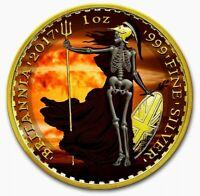 2017 UK Britannia ARMAGEDDON SKELETAL NUKE Colorized 1oz Silver Coin - Box & COA
