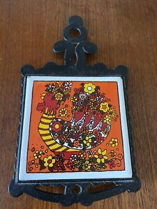 1960/70's Retro Cast Iron & Orange Tile Trivet - Flower Power Bird (B3)