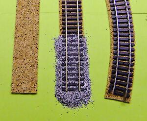 (0,34 €/lfd.M) ---   20 lfd. Meter Gleisbettung aus Korkstreifen  Spur H0