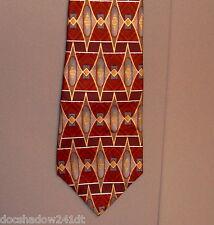 Cambridge Classic Burgundy Grey Gold Geometric Silk Neck Tie made in USA #167