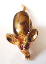 Broche en métal doré bijou en forme de souris ou opossum rat