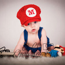 Super Mario Baby Photography Props Knit Crochet Hats + Pants Cosplay Custome Set