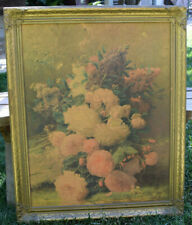 Antique Carved Wood Gilt Frame Litho Print Still Life Roses numbered The May Co