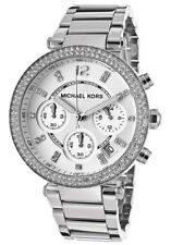 Michael Kors MK5353 Parker Silver Chronograph Women's Glitz Stainless Watch 39MM