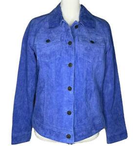 NEW Twiggy London Periwinkle Blue Purple Lined Suede Leather Jean Jacket Size M