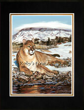 """Matted Cougar Print Mountain Lion Art """"Phat Cat"""" 8x10 Mat by Artist Roby Baer"""