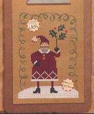 Bent Creek MERRY CHRISTMAS Cross Stitch Leaflet w/ Perforated Paper~ Santa Claus