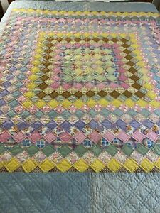 "WOW Antique Vintage Handmade Feed Sack Boston Commons Quilt 67"" x 75"" #819"