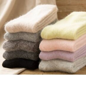 5 Pairs Mongolia 100% Pure Cashmere Wool Thick Warmer Mid Calf Women Socks New