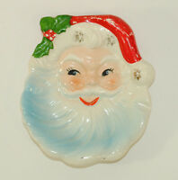 VTG Santa Face Jewelry Tray Candy Dish Ornament Open Eyes Holly Leaves Berries