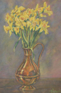 Henry E. Foster (1921-2010) - 20th Century Pastel, Daffodils in a Copper Bowl