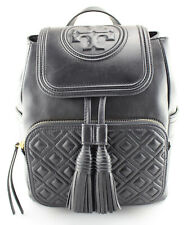 Women's TORY BURCH 'Fleming' Black Lambskin Leather Backpack