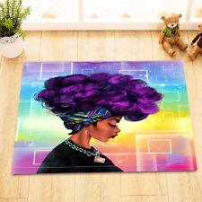 African American Purple Hair Afro Girl Bath Mat Bathroom Rug Bedroom Door Carpet