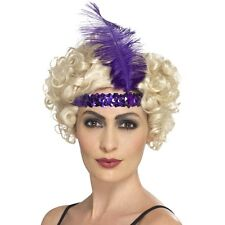 Women's 20's 30's Charleston Lady Fancy Dress Flapper Purple Headband & Feather