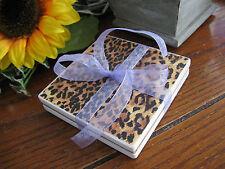 New Jaguar Cheetah Leopard Animal Print Absorbent Stone Coaster Set of 2 w/ Bow