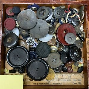 dark tone loose button lot, mixed buttons at random — Sn.15 — free shipping