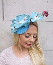 Light Turquoise Blue Velvet Orchid Flower Fascinator Hat Races Hair Clip 2664