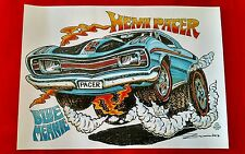 Custom Artist Hot Rod Print Australian Hemi Pacer Blue Meanie Signed and Dated