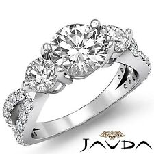 3 Stone Round Diamond Engagement Prong Set Ring GIA F VS2 14k White Gold 2.3ct