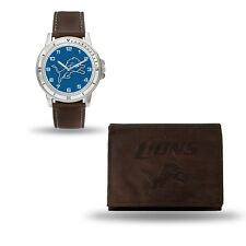 Detroit Lions Watch and Wallet Gift Set - NFL Brown Leather Stainless Steel