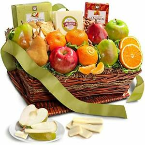Classic Fresh Fruit Basket Gift with Crackers Cheese and Nuts for Christmas