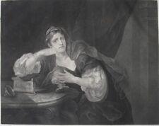 """1822 Hogarth Folio Engraving - """"Sigismunda mourning over the heart of Guiscardo"""""""