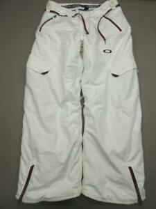 Oakley Size 34x31 Men White Insulated Thinsulate Loose Fit Cargo Snow Pants T021