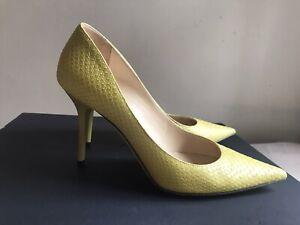 Jimmy Choo Yellow Snakeskin Leather Heels 37.5