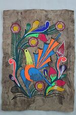 Mexican Folk Art Wall Decor Craft Painting Handmade Bark HandPainted Yellow Bird
