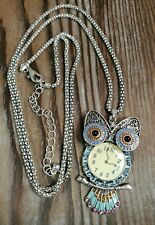 "Owl Pendant Necklace Silver Tone Clock Pink Purple 29-32"" Chain"
