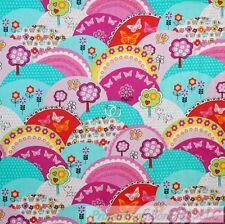 BonEful FABRIC FQ Cotton Quilt Bright Pink Green Tree Rain*bow Garden Butterfly