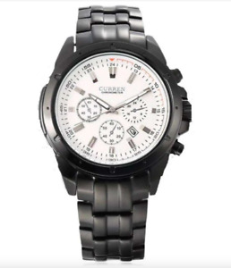 Curren 8009D-1-Black/White Stainless Steel Watch